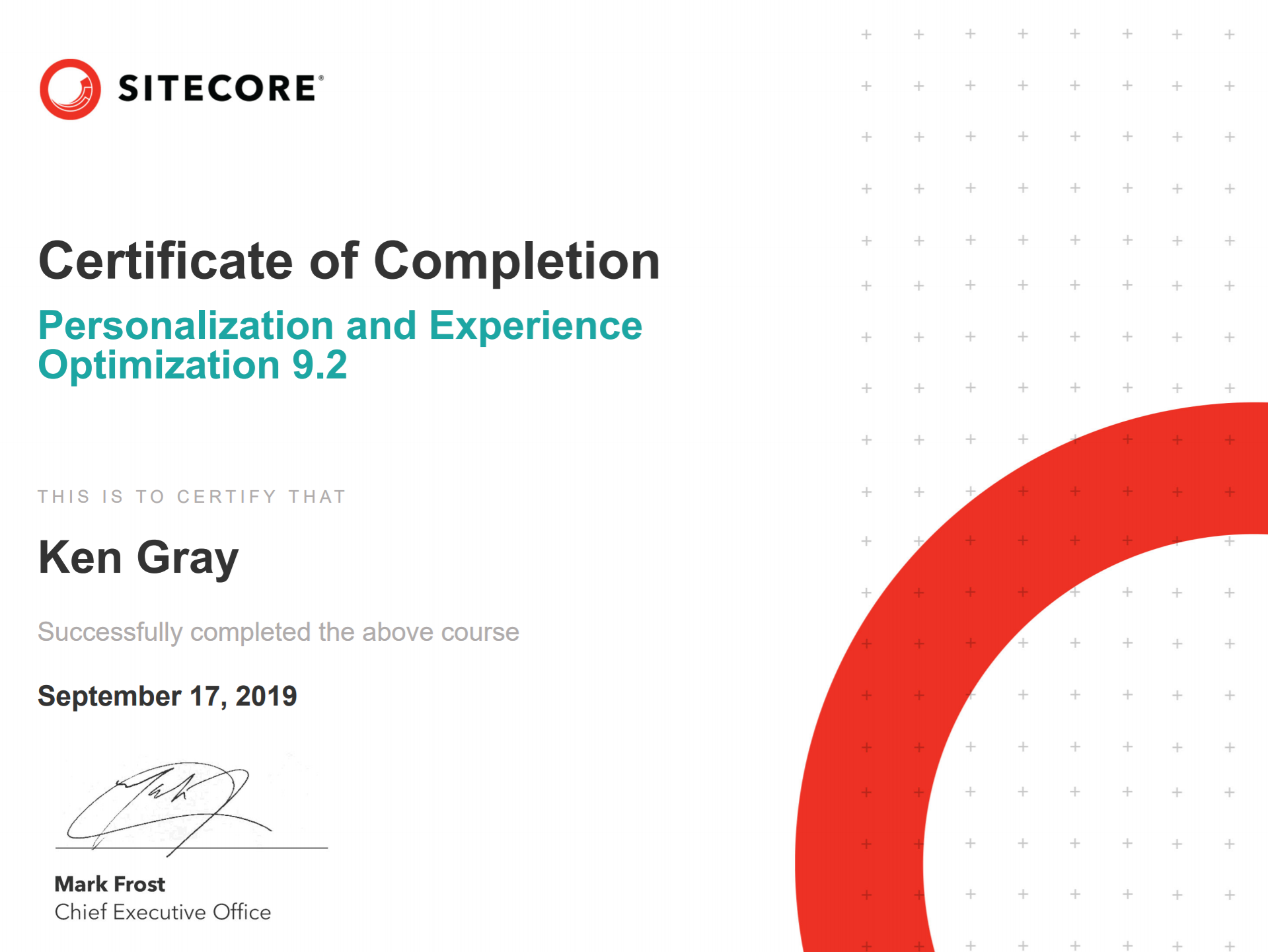 Sitecore Training Certificate